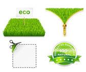 Hierba verde eco. cremallera abierta. vector sscissors cortar la etiqueta engomada. — Vector de stock