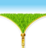 Green grass eco. Zipper open — Stock Vector