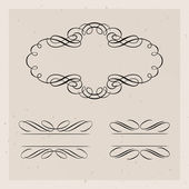 Illustration of set of vintage design elements — Stock Vector