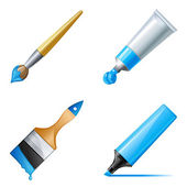 Paint tube, marker and brush with paint — Stock Vector