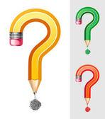 Símbolo de pregunta de lápiz — Vector de stock