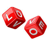 Red dice. Love — Stock Vector