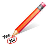 Vector illustration of red pencil choosing no — Vector de stock