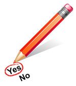 Vector illustration of red pencil choosing yes — Vecteur