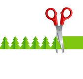 Ножницами вырезать елки — Cтоковый вектор