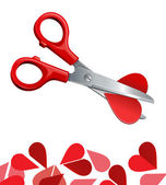Vector illustration of scissors cut heart — Stock Vector