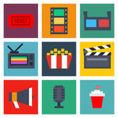 Set of movie design elements and cinema icons — Stock Vector