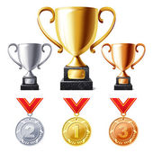 Trophy cups and medals — Stock Vector
