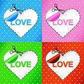 Alla hjärtans dagskort. hjärtat. klistermärke — Stockvektor