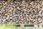 Огонь дерева готов для зимнего шторма — Стоковое фото