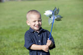 Boy pinwheel — Stock Photo