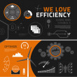 Efficiency infographic elements, icons and symbols — Stockvector #40502327