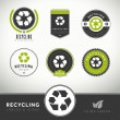 Stock Vector: Quality set of recycling labels and badges