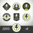 Quality set of green energy labels and badges — Stock Vector