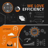 Efficiency infographic elements, icons and symbols — Stock Vector