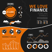 Finance infographic elements, icons and symbols — Vecteur