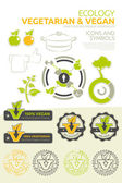 Vegan and vegetarian vector set — Stock Vector