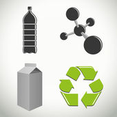 Plastics and recycling icons and symbols — Vector de stock