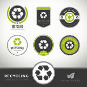 Quality set of recycling labels and badges — Stock Vector