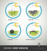 Renewable Energy Generation icons and symbols — Stock Vector