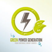 Green power badge for renewable energy sources — Vettoriale Stock