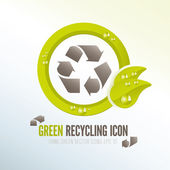 Green recycling icon for ecologic waste management — Stock Vector