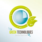 Green technologies icon with water drops — Stock Vector