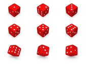 Red dice from different angles — Stock Photo