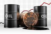 Läckande oljefat med pris diagram — Stockfoto