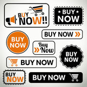 Set of buy now buttons for websites and print — Stock Vector