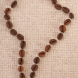 Map of South America - coffee beans on canvas — Stock Photo #40524295