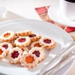 Stock Photo: Jam-filled christmas biscuits