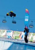 Kuehtai,奥地利-1 月 14 日: yog2012,青年奥林匹克运动会因斯布鲁克 2012 年,滑雪板底部,男人。车手: 来自日本的佐藤平冈 — 图库照片