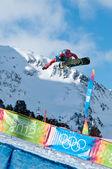 Kuehtai, austria - 14 gennaio: yog2012, gioventù Olimpiadi innsbruck 2012, snowboard halfpipe, uomini. pilota: ben ferguson dagli usa — Foto Stock