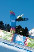KUEHTAI, AUSTRIA - JANUARY 14: YOG2012, Youth Olympic Games Innsbruck 2012, SNOWBOARD Halfpipe, Men. Rider: Tim-Kevin Ravnjak from Slovenia — Stock Photo