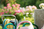 Flower garden with watering cans and hose — Stock Photo