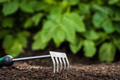 Gardening tool in the soil — Stock Photo
