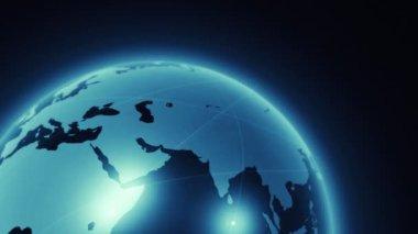 Weltkarte animation mit licht — Stockvideo