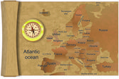 Map Europe, compass — Stok Vektör
