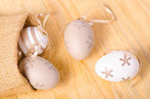 Decorative eggs in canvas bag — Stockfoto