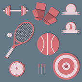 Set of sports items, flat design — Stock Vector