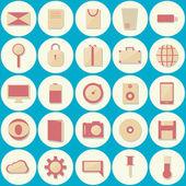 25 Multimedia flat icons — Vector de stock