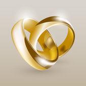 Anillos de boda de oro — Vector de stock