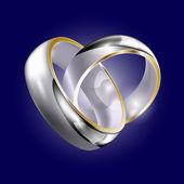 Weddig white-gold rings — Stock Vector