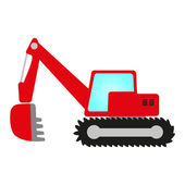 Red excavator — Stock Vector