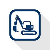 Excavator flat icon — Vector de stock