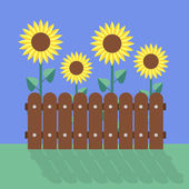 Sunflowers flat design — Stock Vector