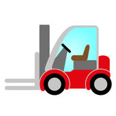 Red forklift truck icon — Stock Vector