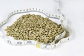 Green Coffee Beans Surrounded By Tape Measure — Stockfoto