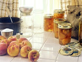 Canning Peaches Scene — Stockfoto